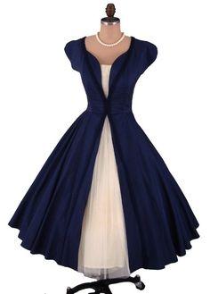 Vintage 1950's 50's Navy Blue Taffeta Ivory Tulle Full Skirt Cocktail Party Dress XS