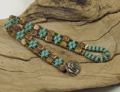 SUPERDUO CZECHMATE TILE Bracelet - Turquoise Picasso SuperDuos - Ivory Picasso Tiles - Bronze Seed Beads - Bronze Flower Button (DR85)