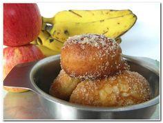 Bolinho de chuva c banana e maçã Bolinho de Chuva Recheado com Banana e Maçã