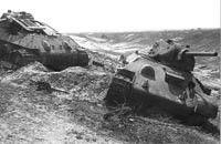 2 knocked out Soviet tanks on the steeps of Kharkov 1943.