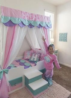 Mermaid Bed Mermaid Canopy Bed Girls Bed Toddler Twin or Full Mermaid Bedding Canopy Top Personalized Step Princess Bed Pink Bed Little Girl Bedrooms, Big Girl Rooms, Girls Bedroom, Little Girl Beds, Mermaid Bedding, Mermaid Bedroom, Girl Bedroom Designs, Bedroom Ideas, Design Bedroom