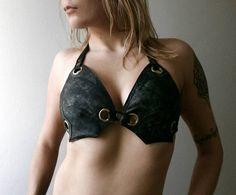 Dream Warriors worn out black leather halter bikini top. Post