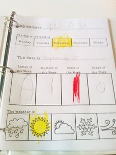 "Circle Time Journal - calendar/weather journal; For our homeschool, I could add list of months (to color current one), add other item, like tracing letters of current month? Color date (list #s 1-31)? ""Tomorrow is x day of week,"" ..."