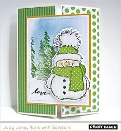 judy jung runs with scissors snowy Stamped Christmas Cards, Christmas Paper Crafts, Homemade Christmas Cards, Christmas Cards To Make, Xmas Cards, Homemade Cards, Holiday Cards, Christmas Eve, Christmas Snowman