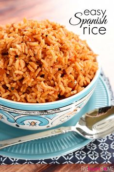Easy Spanish Rice ~ cook a pot of rice using chicken broth, tomato sauce, and a few seasonings for the perfect base for rice bowls or a delicious side dish to your favorite Mexican entrees! | FiveHeartHome.com