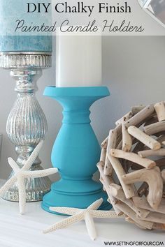Chalky Finish DIY Painted Candle Holders #decoartprojects #chalkyfinish