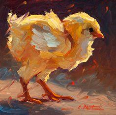 Feisty Chick by Cheri Christensen Oil ~ 6 x 6