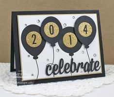 handmade graducation card ,,, black and white with gold ... balloons with year ,,, die cute CELEBRATE ... gold glitter paper and sequins supply the glam ,,,