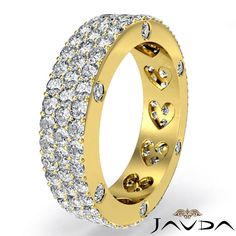 Bezel Pave Round Diamond Ring Women Eternity Wedding Band 18k Yellow Gold 2.4Ct #Javda #WithDiamonds