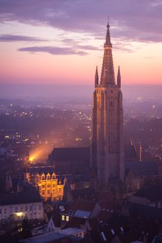 Gorgeous sunset view of Bruges from the top of the belfry. Brugge (Bruges), Belgium in winter for Christmas