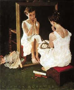 norman rockwell...The young girl in this painting was 12 yrs. old at the time...She never saw the painting until she was 22 yrs. old...She stated that she had to leave the viewing room where she was and that she was overwhelmed to the point of tears. Cathy B