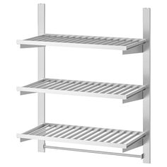 KUNGSFORS Wall storage with grid + knife rack, stainless steel, ash veneer. Inspired by professionals, adapted for you. Just like in a restaurant kitchen, we've focused on durable materials and smart wall storage. Ikea Algot, Stainless Steel Brackets, Stainless Steel Tubing, Stainless Steel Kitchen Shelves, Ikea Sortiment, Magnetic Knife Rack, Kitchen Wall Storage, Decoration Ikea, Modern Kitchens