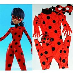 Kid Girls Miraculous Ladybug Halloween Cosplay Marinette Tight Coverall Costume  #Unbranded #CompleteOutfit