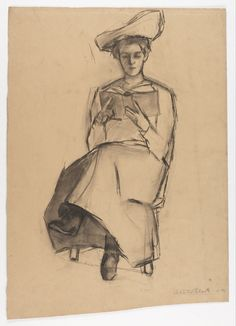 Woman Reading a Book by Adèle Clark. Charcoal on cardboard, 1903.