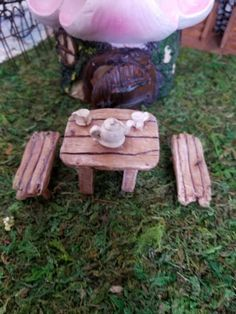 miniature fairy garden table and benches with tea set