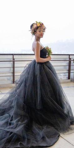 Dark Romance: 27 Gothic Wedding Dresses ❤ gothic wedding dresses princess low back strapless tulle skirt frenchknotcouture ❤ #weddingdresses
