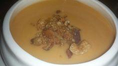 Crema castellana con torreznitos crujientes Garlic, Pudding, Dishes, Vegetables, Desserts, Food, Cream, Restaurants, Eten