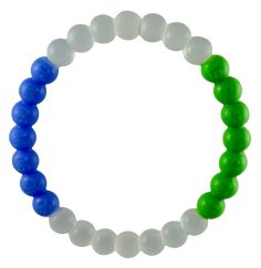 Each green and blue bead in the bracelet contains actual soil and sea samples from one of the world's 7 continents and 7 seas. The samples are collected by our Global Ambassadors located around the world and shipped to our production facility where we use 100% recycled silicone to create the bracele