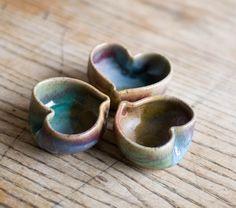 Heart bowls set of three tiny heart bowls by redhotpottery on Etsy, via Etsy.  FUN!