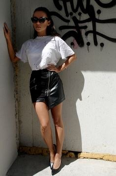 skirt leather black zippers asymmetric black and white women outfit from backstage backstg.com
