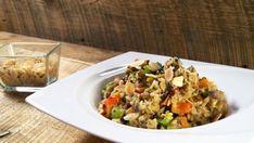 Riz brun aux grains Solution Gourmande, Couscous, Fried Rice, Tofu, Risotto, Fries, Quinoa, Ethnic Recipes, Brown Rice