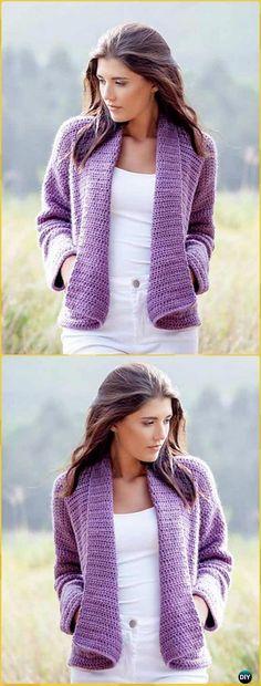 Crochet Wrap Cardigan Free Pattern - Crochet Women Sweater Coat & Cardigan Free Patterns
