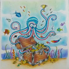 Meu polvo magnata pronto! !! Ufa, foram quase duas semanas!  #johannabasford #oceanoperdido #lostocean #marcoraffine #fabercastell  #jardimcolorido #forumdacriatividade #inspiracaojardimsecreto #mundoscoloridos #florestaencantadainspire #artecomoterapia #oceanoperdidotop  #lostoceantop