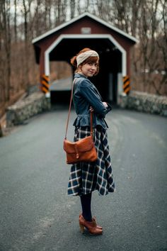 The Clothes Horse: Country Charm / Green plaid full midi skirt / blue denim jacket / brown leather bag and shoes / red covered bridge