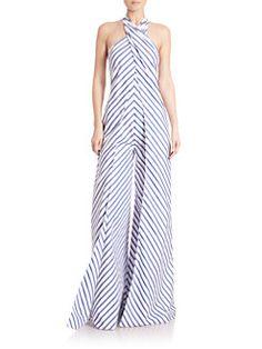 Ralph Lauren Collection - Adelaide Striped Wide-Leg Halter Jumpsuit