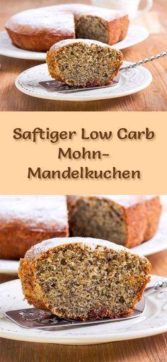 Rezept für einen saftigen Low Carb Mohn-Mandelkuchen: Der kohlenhydratarme Kuchen wird ohne Zucker und Getreidemehl gebacken. Er ist kalorienreduziert, ...