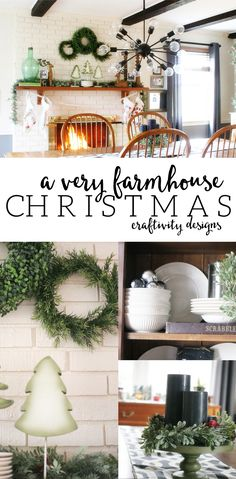 Farmhouse Christmas Home Tour, Rustic, Cottage, Vintage, Green and Black, #farmhouse #christmas by @CraftivityD