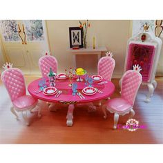 Miniature Furniture Princess Dining Room -C for Barbie Doll House Pretend Play Toys for Girl Free Shipping