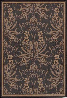 Couristan Recife 1516 0111-Garden Cottage Black Cocoa Rugs - netchannel.com