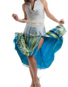 Tanz-Front Schlitz, Rock, Tanz-Verschleiß, Tango-Kleidung, Damenbekleidung Tanz, Tango-Röcke, Passform-und-Flare-Kontur, seidig Tango Röcke