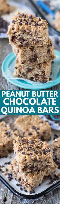 ** I would replace the pb with sunflower butter **Healthy peanut butter chocolate chip quinoa granola bars! 7 ingredients and 30 minutes to bake! The best homemade granola bar! Quinoa Granola Bars, Homemade Granola Bars, Vegan Desserts, Delicious Desserts, Yummy Food, Healthy Peanut Butter, Chocolate Peanut Butter, Chocolate Bars, Healthy Sweets