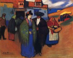 A spanish couple in front of inn, 1900 - Pablo Picasso