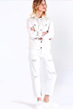 EDIT The Brand PS16 Resort Collection - White Denim Jacket // White Denim Ripped Boyfriend Jeans