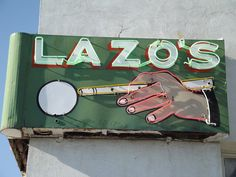 Lazo's Pool Parlour vintage neon sign - Bakersfield CA Old Neon Signs, Vintage Neon Signs, Old Signs, Advertising Signs, Vintage Advertisements, Building Signs, Neon Nights, Neon Rainbow, Roadside Attractions