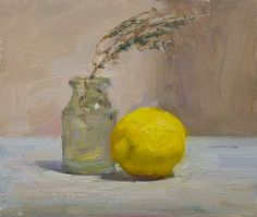 Lemon, bottle and sprig of thyme A Daily painting by Julian Merrow-Smith