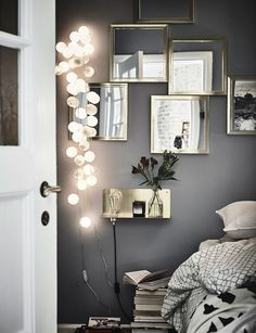 Bedroom Details In A Gothenburg Apartment With A Bold Dark Bedroom - Gravity Home - Interior Decor Gray Bedroom, Home Bedroom, Bedroom Decor, Dark Bedrooms, Bedroom Ideas, Bedroom Lighting, Design Bedroom, Modern Bedroom, Bedroom Plants