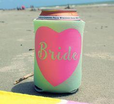 Bride Koozie, Bachelorette Koozie, Beverage Insulator, Custom Koozie, Beach Koozie, Drink Holder, Bachelorette Party, Wedding Day Koozie by RomanticSouthern on Etsy