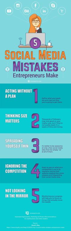 Top 5 Social Media Mistakes Entrepreneurs Make (That You Should Avoid) - infographic