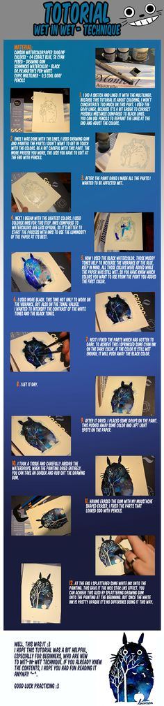 Watercolor Tutorial with Totoro - Wet-in-Wet by Laovaan on DeviantArt