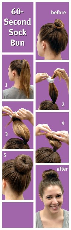 Then again, there's always the old sock bun standby. | 18 Ingenious Hair Hacks For The Gym