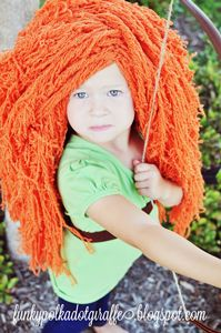 Merida Wig on Funky Polkadot Giraffe :: Free Crochet Wig Pattern!