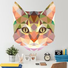 coolTop Geometric Tattoo - Tête chat origami - Stickers Muraux #origami #chat #sticker #muraux #décoratio...