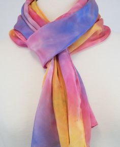 Shibori Silk Scarf, Hand Dyed Habotai Silk, Sunset, Starburst, OOAK by FlingamoScarves on Etsy
