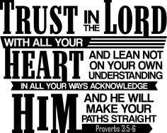 Proverbs 3:5-6 (NIV)Trust in the Lord with all your heart  and lean not on your own understanding;in all your ways submit to him,  and he will make your paths straight.