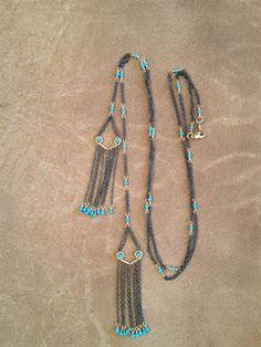 Turquoise Double Fringe Necklace by Dana Kellin