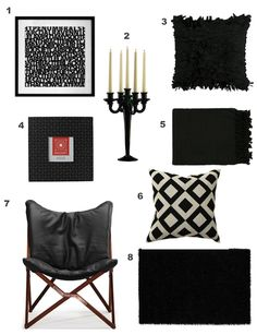 The pillar candle stands out most, these modern accessories could be used in various different rooms as they are neutral and versitile Black And White Interior, Black And White Design, Black White, White Mansion, Ottoman Sofa, Home Decor Trends, Decor Ideas, Decorating Your Home, Interior Decorating